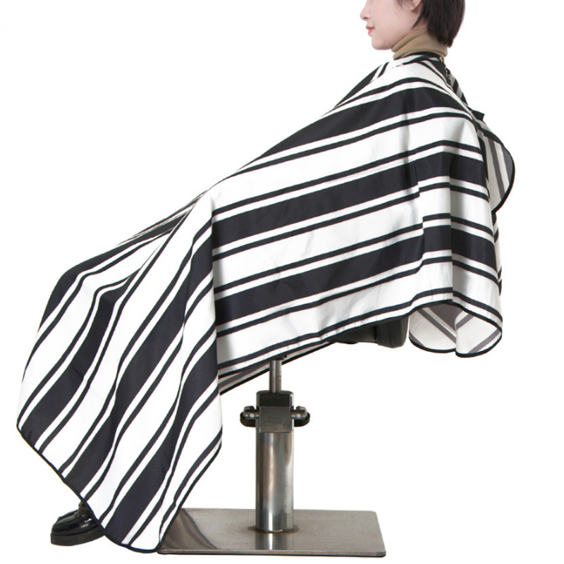 schwarz-weiss-Streifen-Muster-Salon-Schuerze-Haarschnitt-Plane-Schal-antist-H9O9