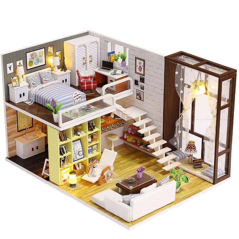 Todo en alta calidad y bajo precio. 2X(Diy Maison de poupee en bois Petit kit de de de montage avec des meubles de LE X8W3  Con 100% de calidad y servicio de% 100.
