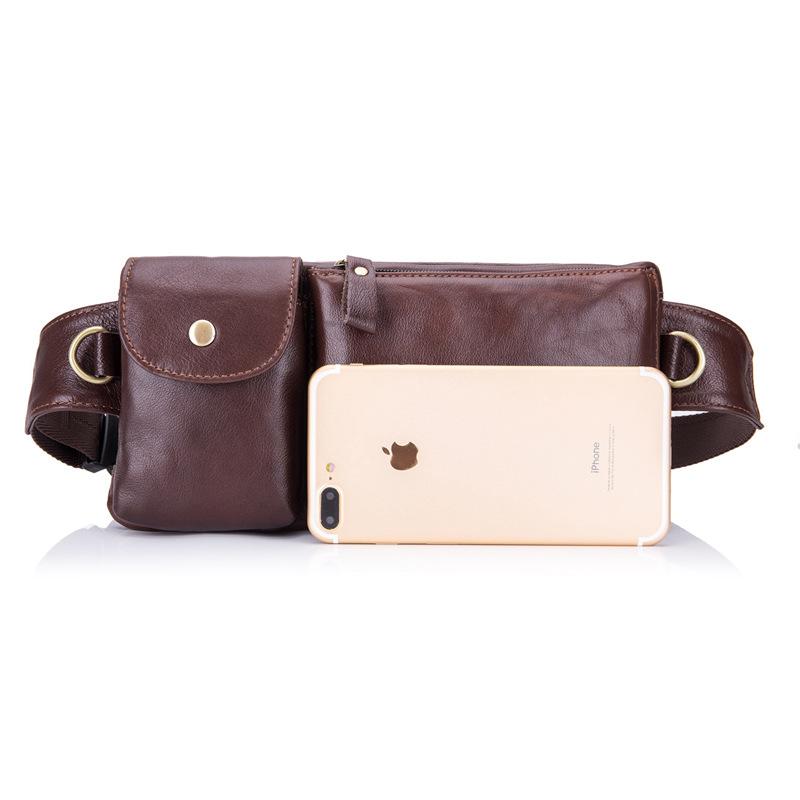 BULLCAPTAIN Genuine Leather Waist Packs Fanny Pack Belt Bag Phone leather P P6P3
