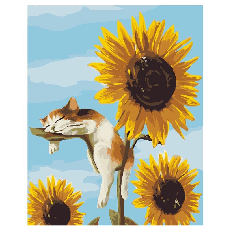 5xgatos Sin Marco Girasoles Pintura Al Oleo Bricolaje Para Colorear Imagenesd6 Ebay