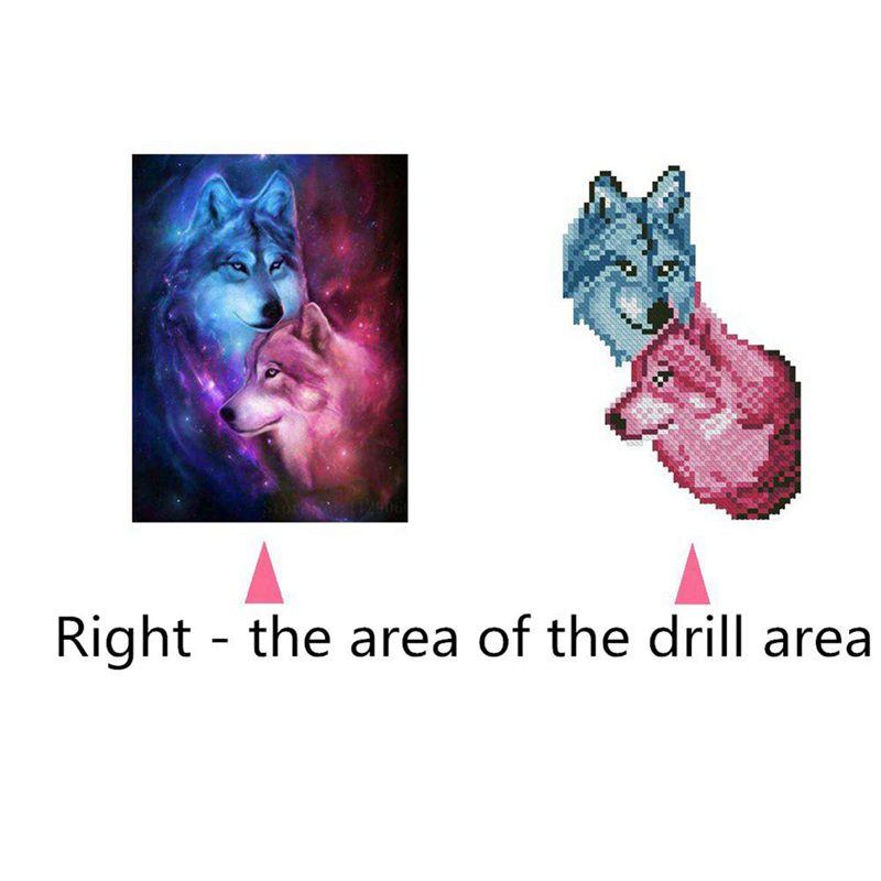4X-5D-DIY-Runde-Diamant-Malerei-034-Liebe-Wolf-034-Stickerei-Kreuzstich-Mosaik-Male-S4