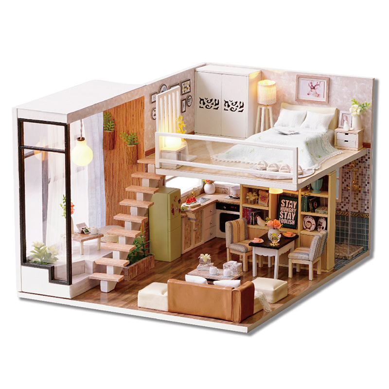 Image Is Loading Doll House Miniature DIY Dollhouse With Furnitures Wooden