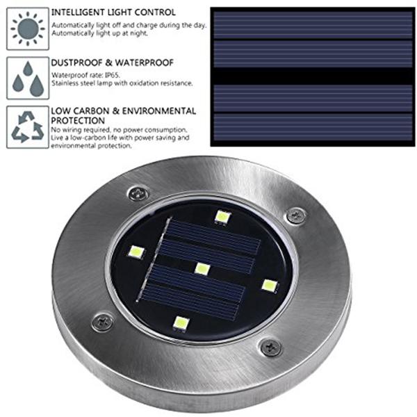 2X(5 LED Energie solaire De plein air Jardin Chemin Eclairage Cour Pelouse D6K6) 6