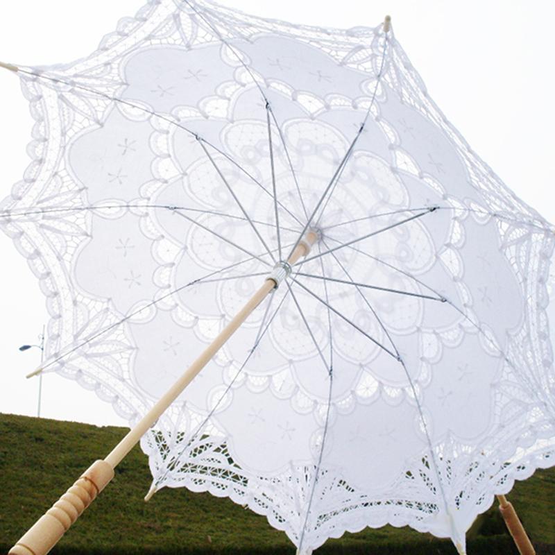 1dff59436352 80cm Victorian Lace Embroidery Wedding Umbrella Bridal Parasol White H8f9