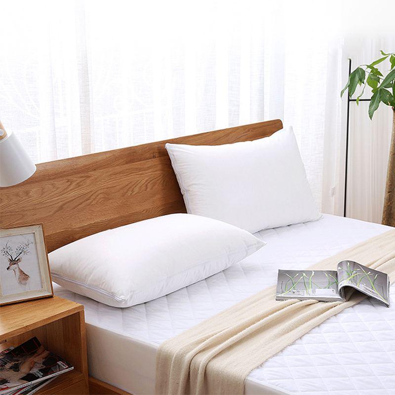 2 x blanc housse d/'oreiller d/'hotel Impermeable Fermeture eclair protecteur O5T8