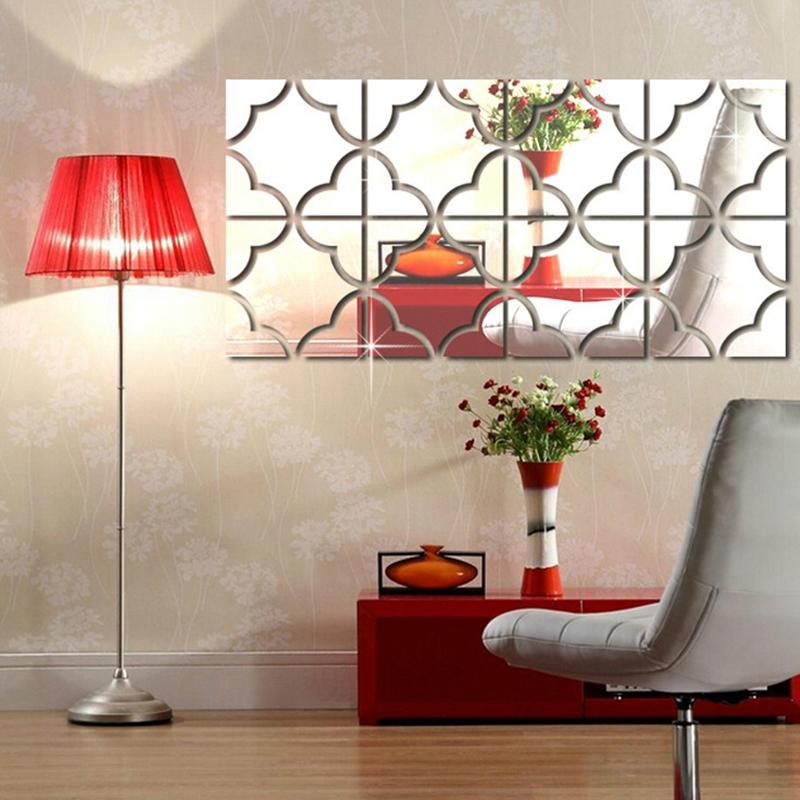 5x 4 stuecke set selbstklebende spiegel fliesen 3d wandaufkleber aufkleber ku qp ebay. Black Bedroom Furniture Sets. Home Design Ideas