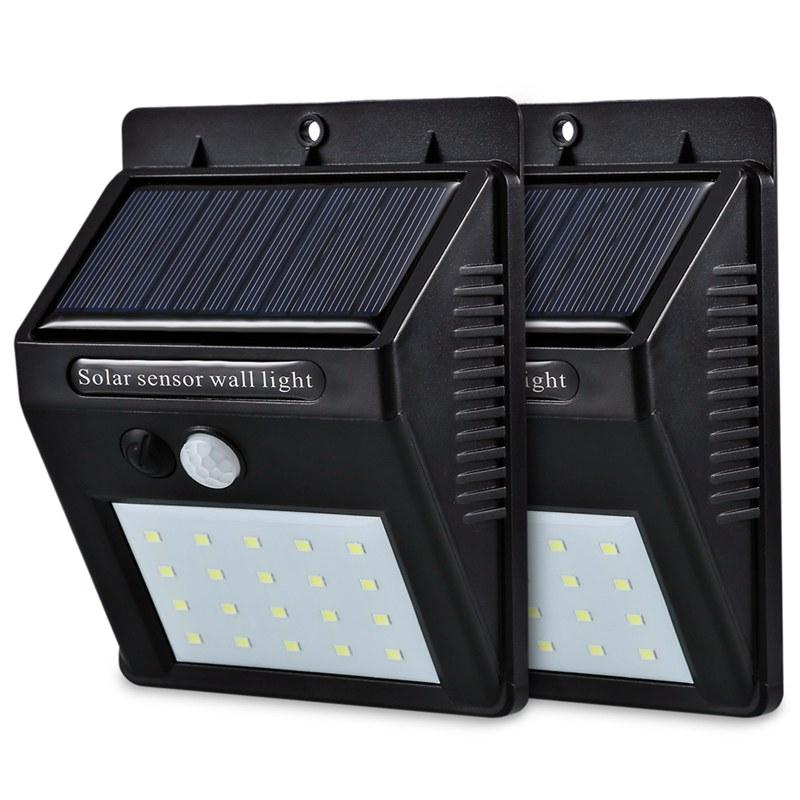 4X (2 Pcs 20 LED Energía Solar Sensor De Movimiento PIR Seguridad De Parojo Resistente al Agua LiH5Y2