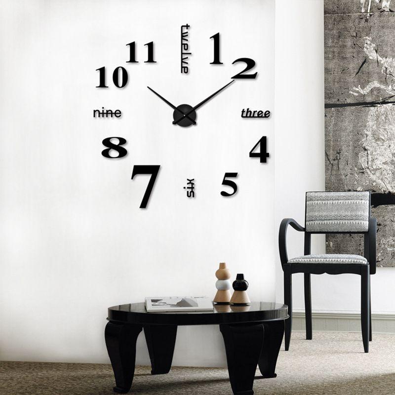 3D-Large-Wall-Clock-Mirror-Sticker-Big-Watch-Sticker-Home-Decor-Unique-Gift-B2W4 thumbnail 2