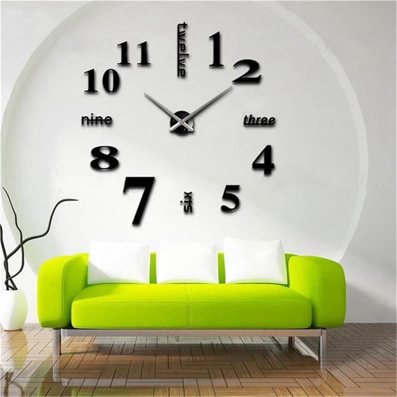 3D-Large-Wall-Clock-Mirror-Sticker-Big-Watch-Sticker-Home-Decor-Unique-Gift-B2W4 thumbnail 3