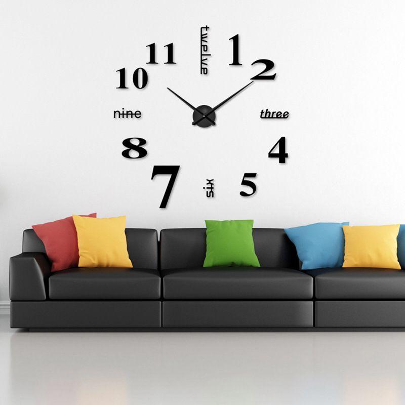 3D-Large-Wall-Clock-Mirror-Sticker-Big-Watch-Sticker-Home-Decor-Unique-Gift-B2W4 thumbnail 4