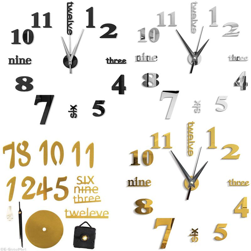 3D-Large-Wall-Clock-Mirror-Sticker-Big-Watch-Sticker-Home-Decor-Unique-Gift-B2W4 thumbnail 5