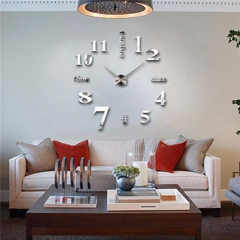 3D-Large-Wall-Clock-Mirror-Sticker-Big-Watch-Sticker-Home-Decor-Unique-Gift-B2W4 thumbnail 6