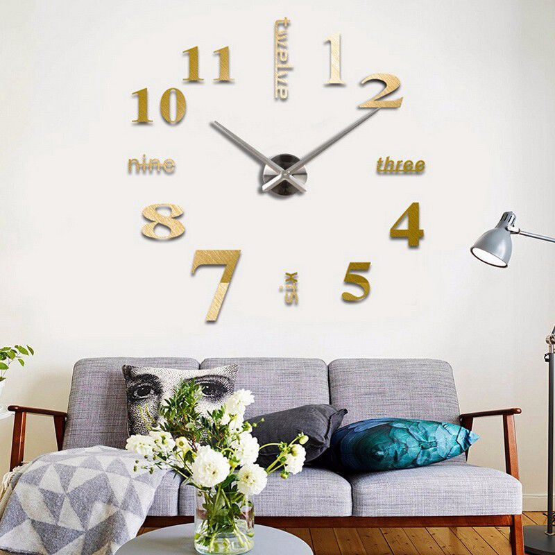 3D-Large-Wall-Clock-Mirror-Sticker-Big-Watch-Sticker-Home-Decor-Unique-Gift-B2W4 thumbnail 7