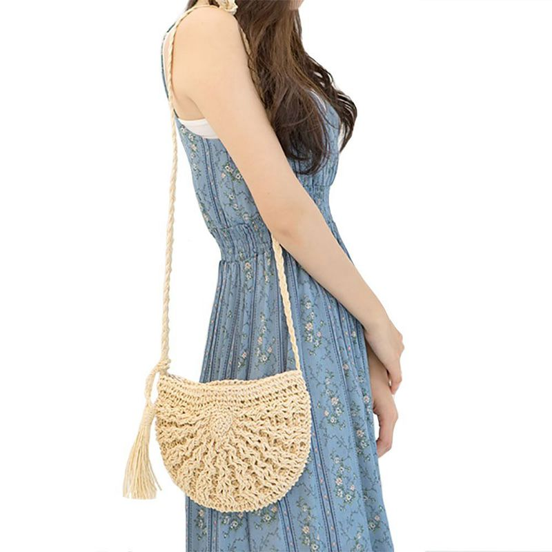 Straw Crossbody Bag Women Weave Shoulder Bag Round Summer Be