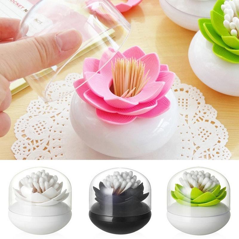 Hot-Chic-Lotus-Flower-Cotton-Bud-Holder-caja-palillo-de-dientes-caja-de-N8M7 miniatura 15
