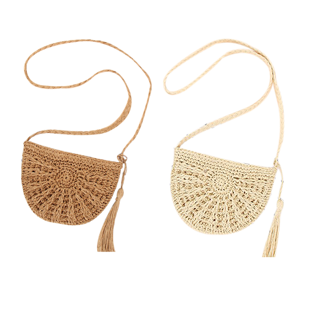 9a0f675eaa5f Image is loading Straw-Crossbody-Bag-Women-Weave-Shoulder-Bag-Round-