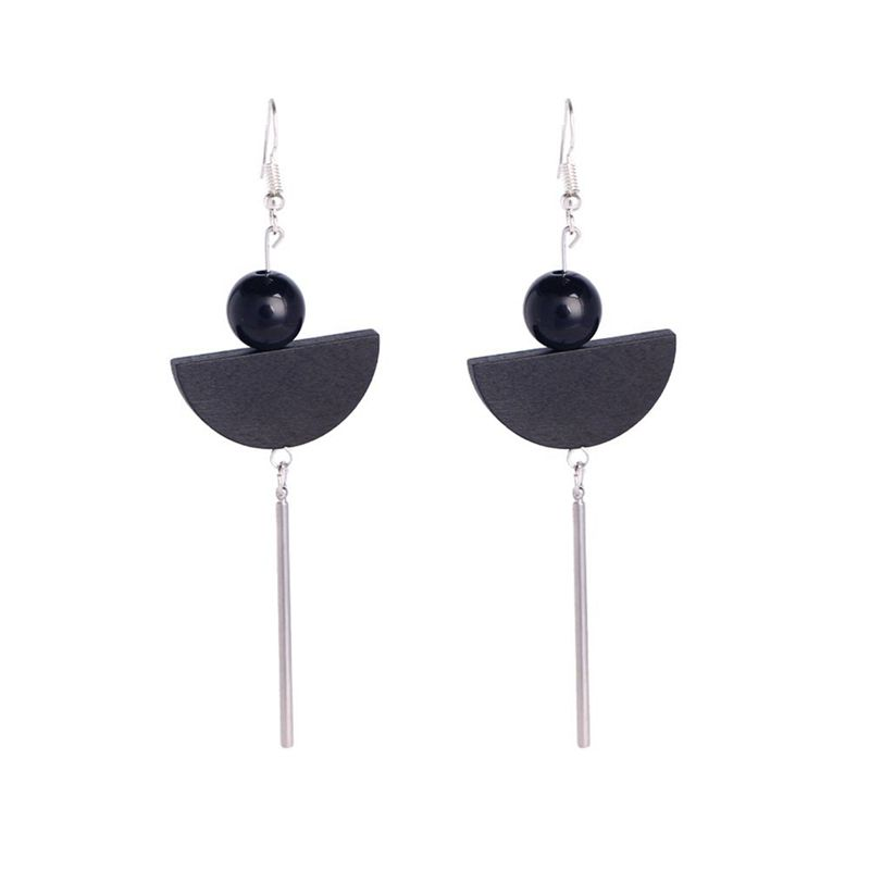 Elegant Black Drop Earrings Fashion Minimalist Long Tel Wooden Jewelry F L8i3