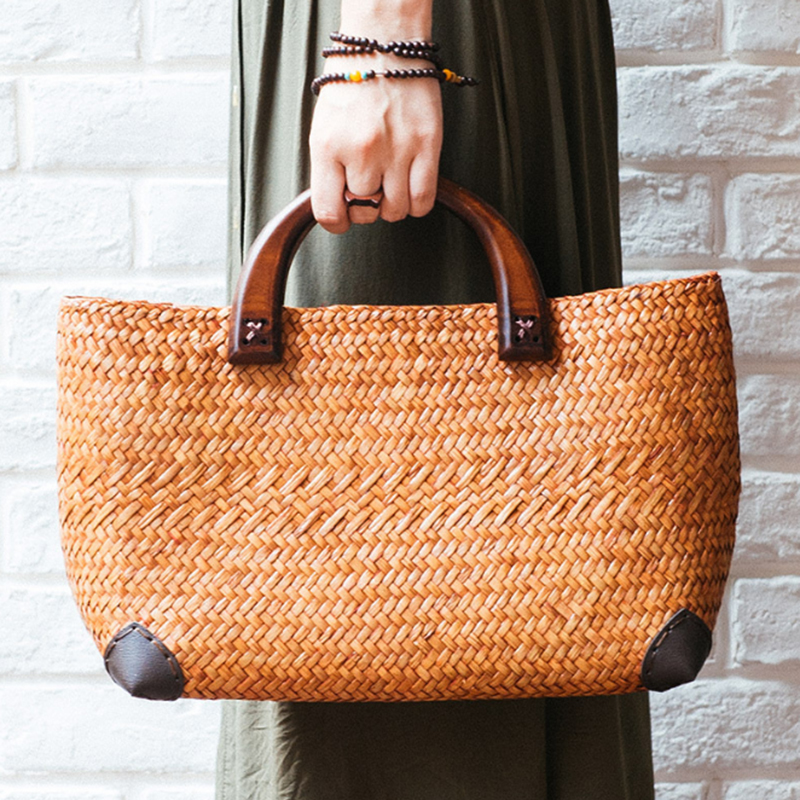 tan grass Beach Bag Woven Bucket Bag Grass Casual Tote Handbags ... a8837ad5c2f5f