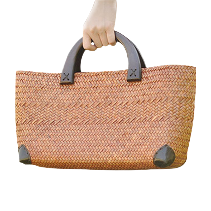 Image is loading tan-grass-Beach-Bag-Woven-Bucket-Bag-Grass- bc4b5fd45a070