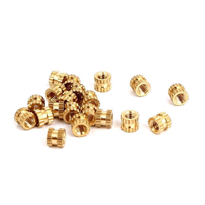 M2x3mmx3-2mm-Female-Threaded-Brass-Knurled-Insert-Embedded-Nuts-20pcs-U2Z2-S2P thumbnail 2