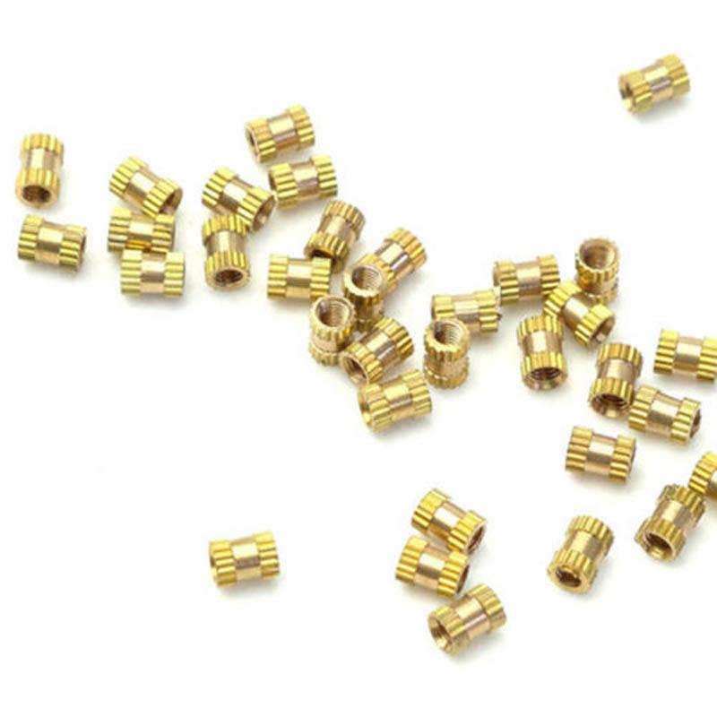 M2x3mmx3-2mm-Female-Threaded-Brass-Knurled-Insert-Embedded-Nuts-20pcs-U2Z2-S2P thumbnail 5