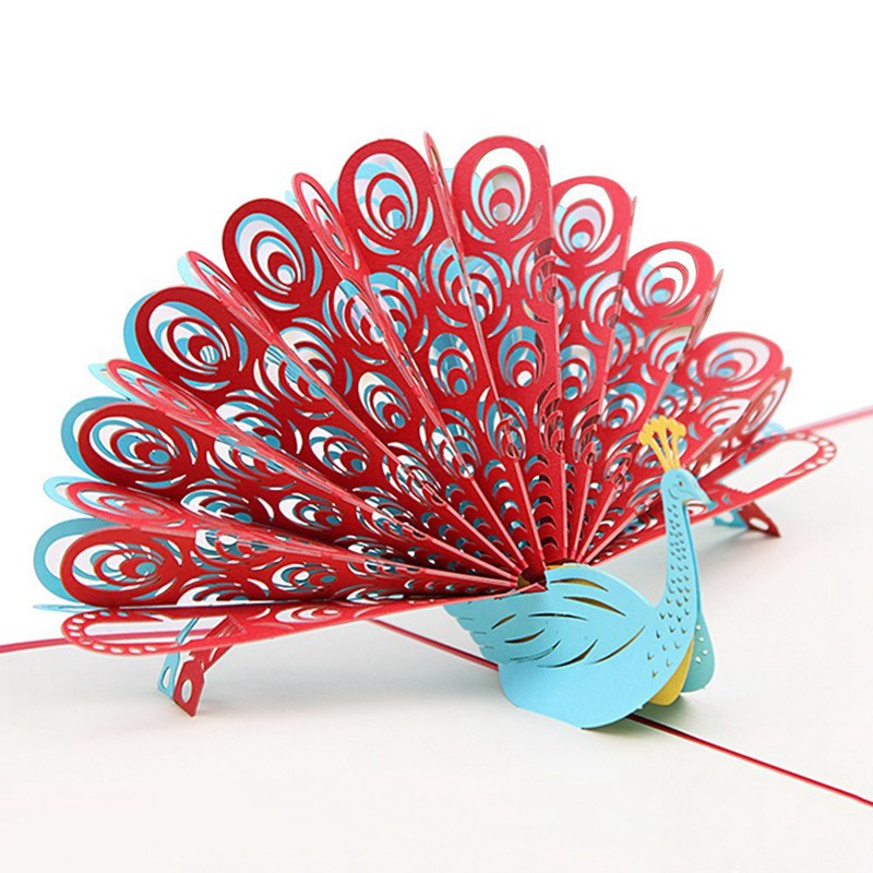 3d Peacock Pop Up Birthday Card For Wife Husband Kids Valentine Day