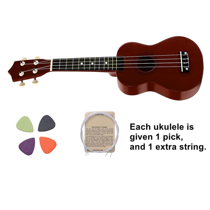 21-inch-Soprano-Ukulele-4-Strings-Hawaiian-Guitar-Uke-String-Pick-For-Begi-B4F2 thumbnail 16