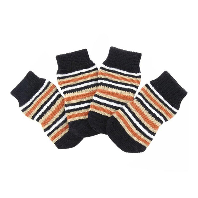 Chaussettes-en-coton-tisse-anti-derapant-pour-chat-chien-chiot-4-Pcs-cafe-E9I9 miniature 3