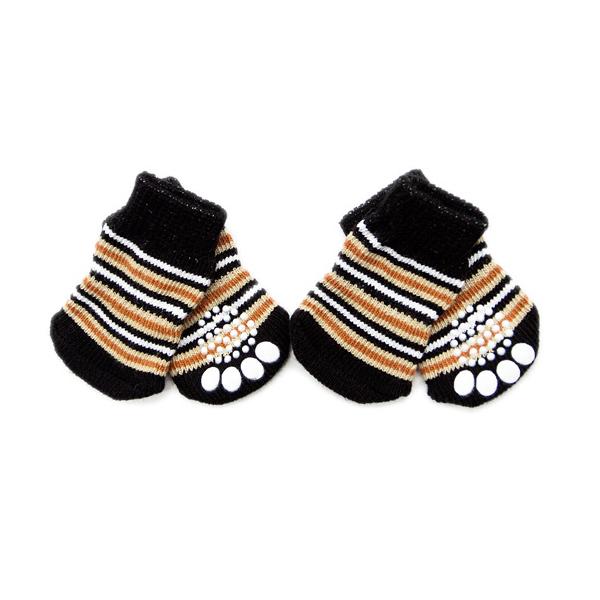 Chaussettes-en-coton-tisse-anti-derapant-pour-chat-chien-chiot-4-Pcs-cafe-E9I9 miniature 4