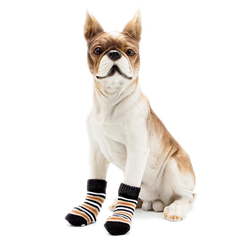 Chaussettes-en-coton-tisse-anti-derapant-pour-chat-chien-chiot-4-Pcs-cafe-E9I9 miniature 5