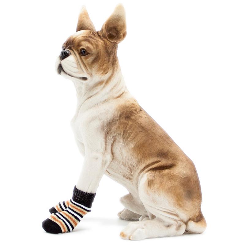 Chaussettes-en-coton-tisse-anti-derapant-pour-chat-chien-chiot-4-Pcs-cafe-E9I9 miniature 6