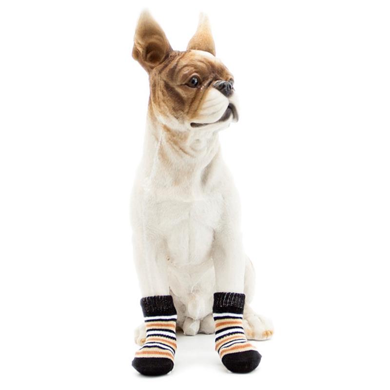 Chaussettes-en-coton-tisse-anti-derapant-pour-chat-chien-chiot-4-Pcs-cafe-E9I9 miniature 7