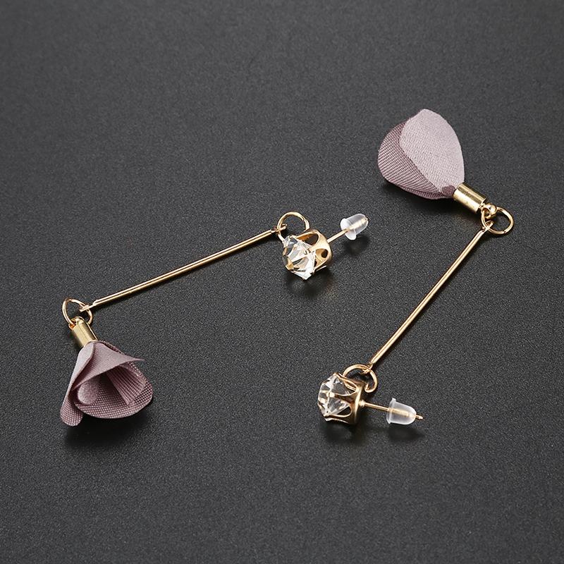 Simple Charmant Boucles d/'oreille longues de tissu de fleurs de ModeVintag L6E8