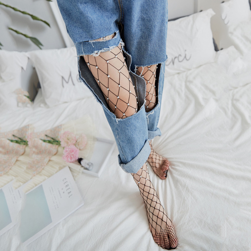 6a331749b10da Chic Women Tights Imitation Pearls Fishnet Stockings Ladies Hollow out Mes  X2v5. About this product. Picture 1 of 9; Picture 2 of 9; Picture 3 of 9 ...