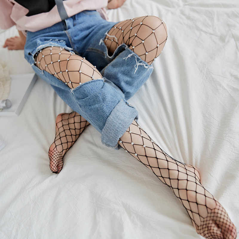 2c99d64bb5f823 Chic Women Tights Imitation Pearls Fishnet Stockings Ladies Hollow ...