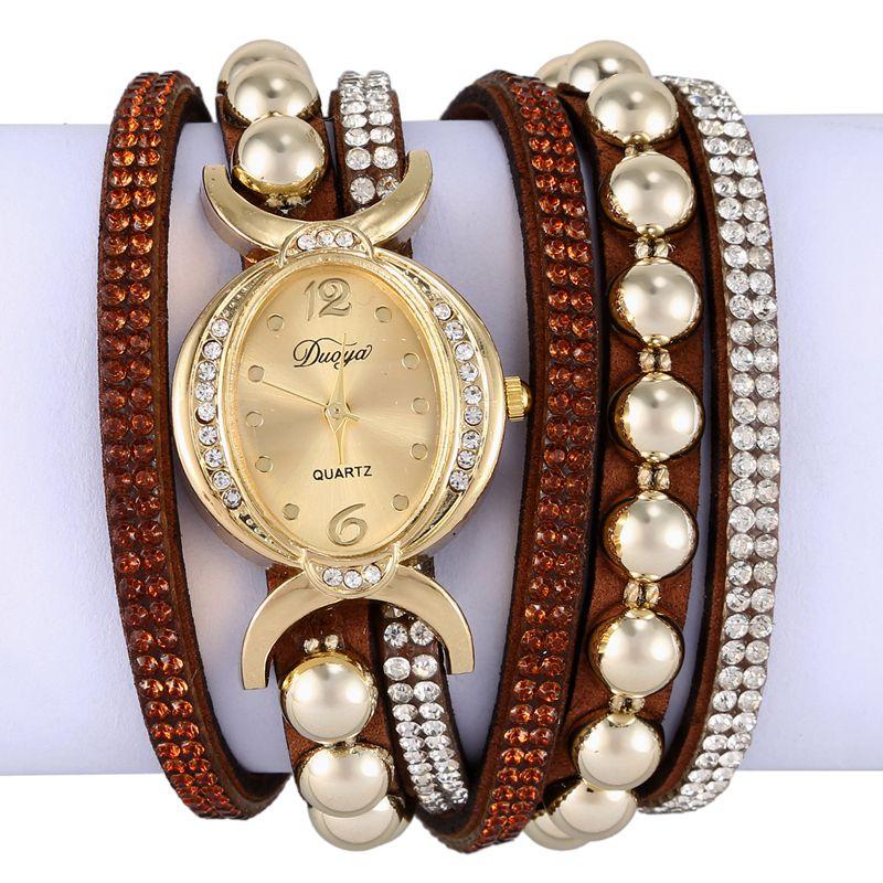 Duoya-marque-de-luxe-femmes-strass-poignet-en-cuir-montre-a-quartz-pour-dam-Y2I5 miniature 7