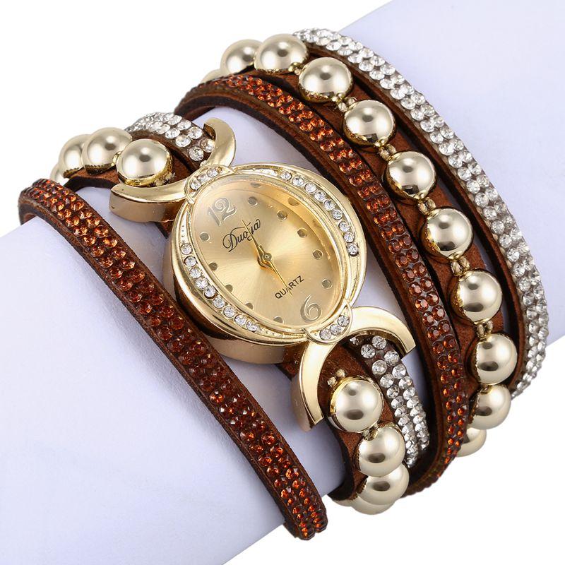 Duoya-marque-de-luxe-femmes-strass-poignet-en-cuir-montre-a-quartz-pour-dam-Y2I5 miniature 8