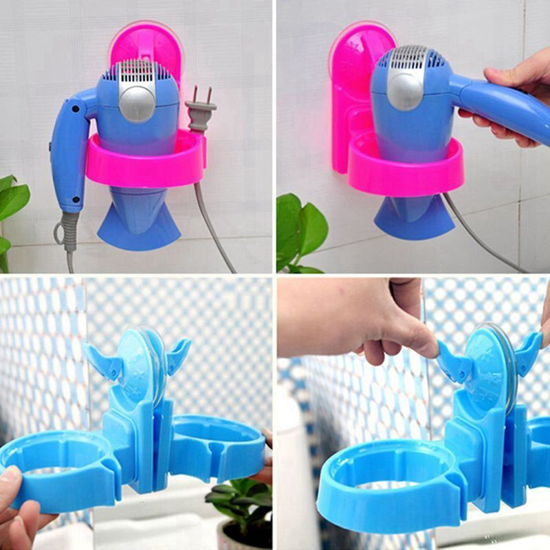 1-x-Home-Bathroom-Wall-Suction-Mount-Hair-Dryer-Holder-Rack-Hair-Drier-Stor-R8L2