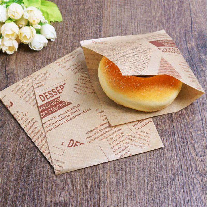 100Pcs Sandwich Donut Bread Bag Oilproof Doughnut Paper Bags Food Packing Jian