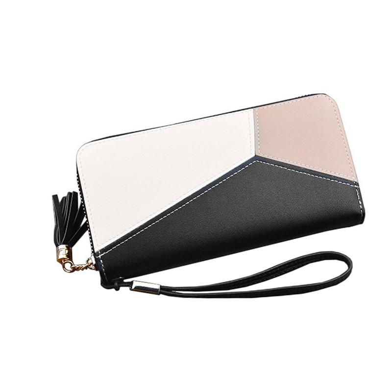 N7K5 Schwarz Damen Brieftasche Lange Leder Zipper Damen Clutch Geldboerse
