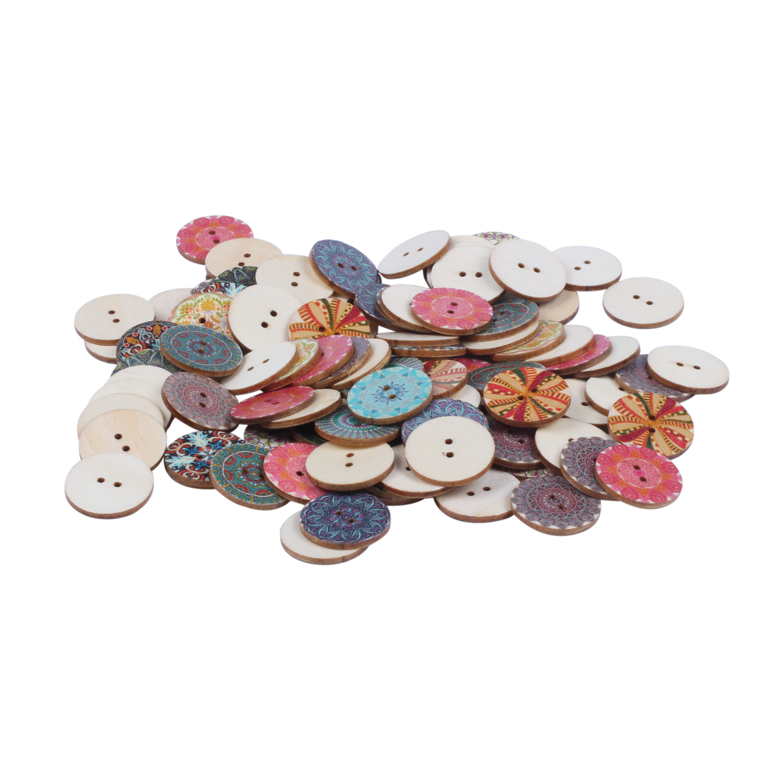 Mixed-Flower-Painting-Round-2-Holes-Wood-Wooden-Buttons-for-Sewing-Crafting-Z4I2