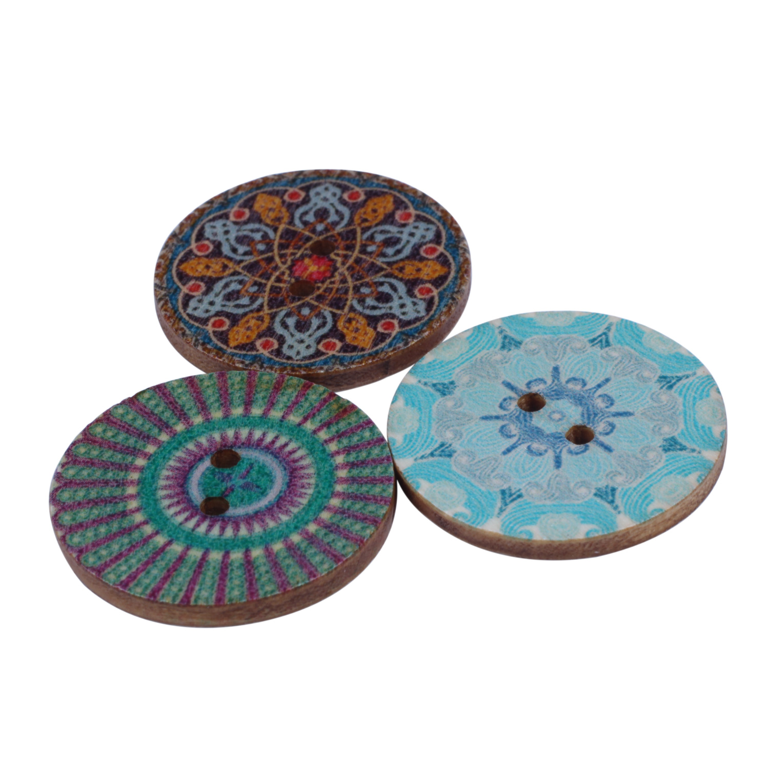 Mixed-Flower-Painting-Round-2-Holes-Wood-Wooden-Buttons-for-Sewing-Crafting-Z4I2 thumbnail 10