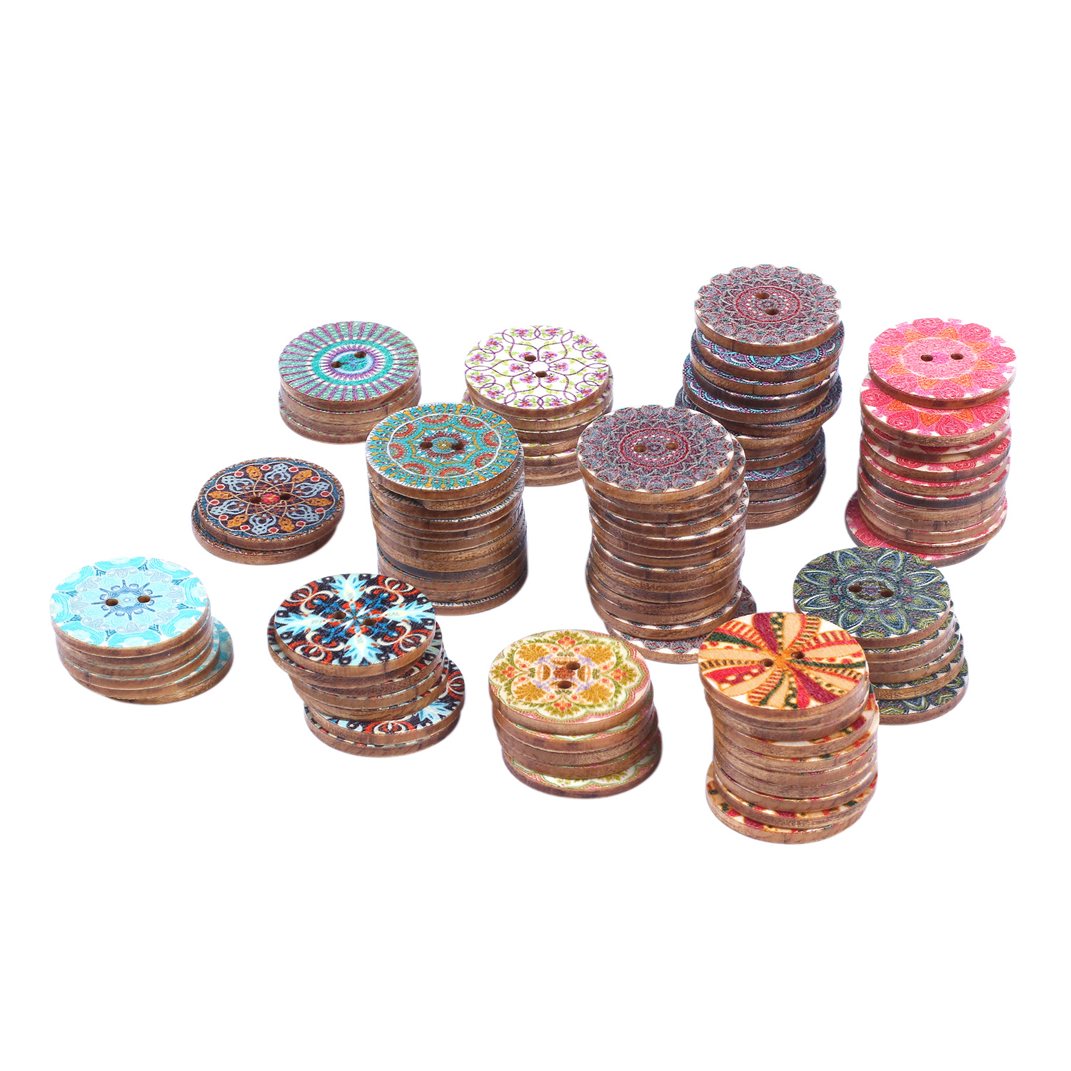 Mixed-Flower-Painting-Round-2-Holes-Wood-Wooden-Buttons-for-Sewing-Crafting-Z4I2 thumbnail 4
