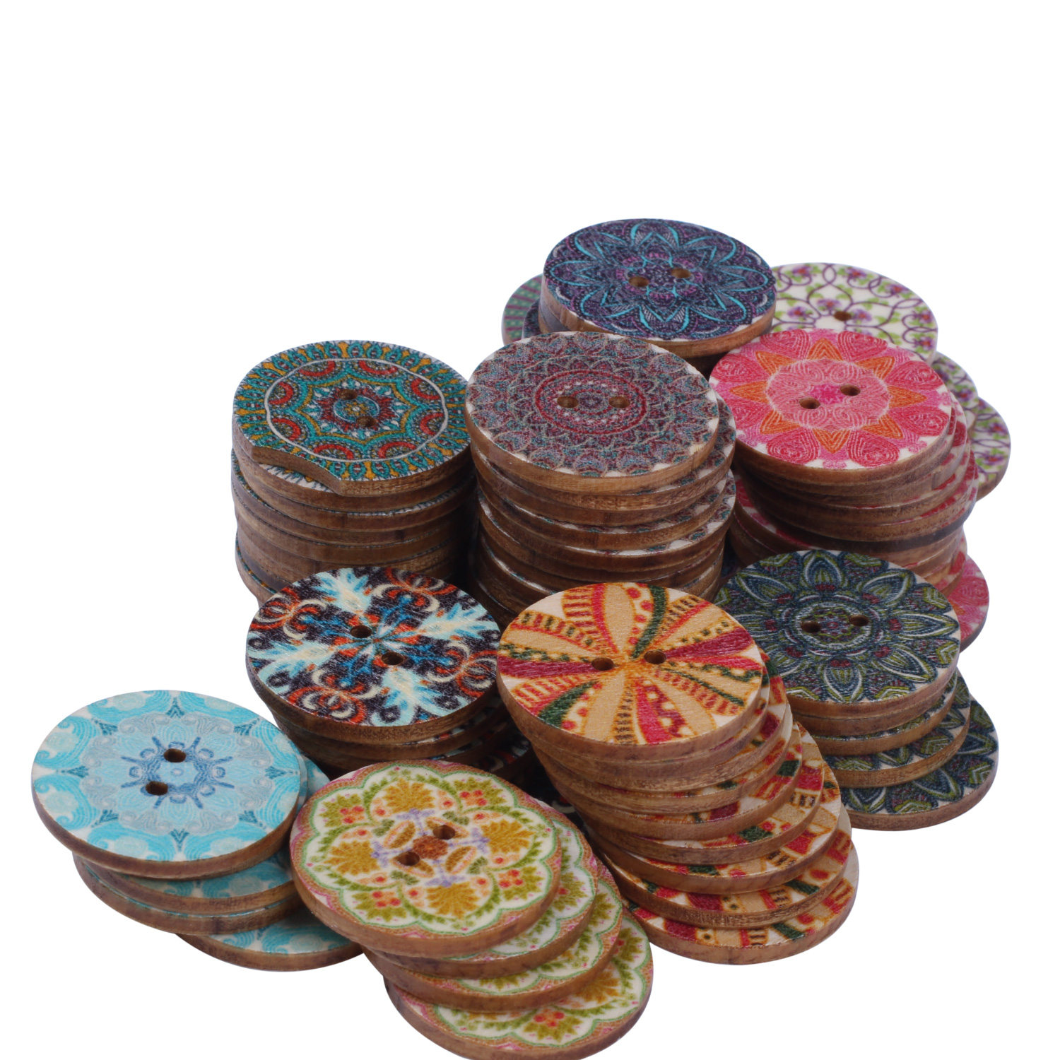Mixed-Flower-Painting-Round-2-Holes-Wood-Wooden-Buttons-for-Sewing-Crafting-Z4I2 thumbnail 5