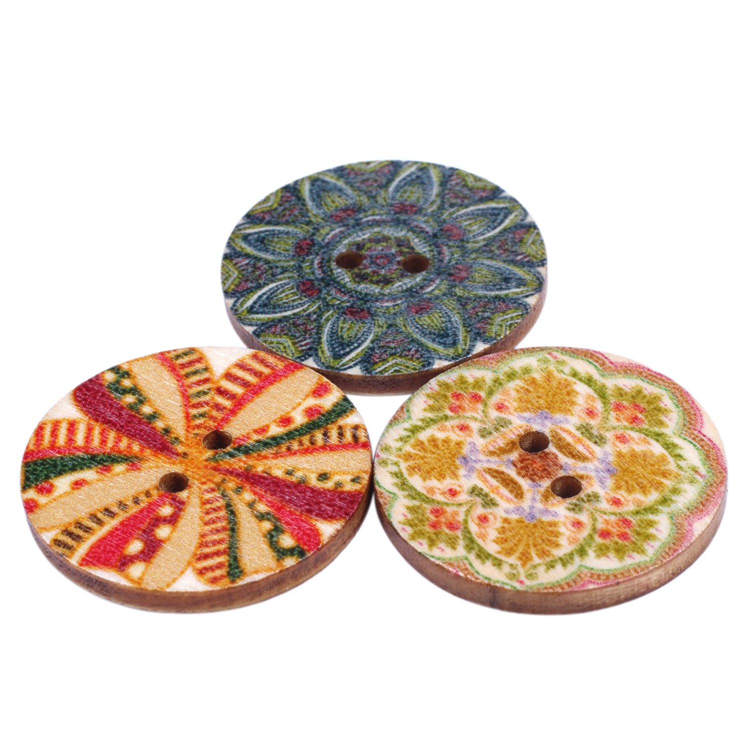 Mixed-Flower-Painting-Round-2-Holes-Wood-Wooden-Buttons-for-Sewing-Crafting-Z4I2 thumbnail 7
