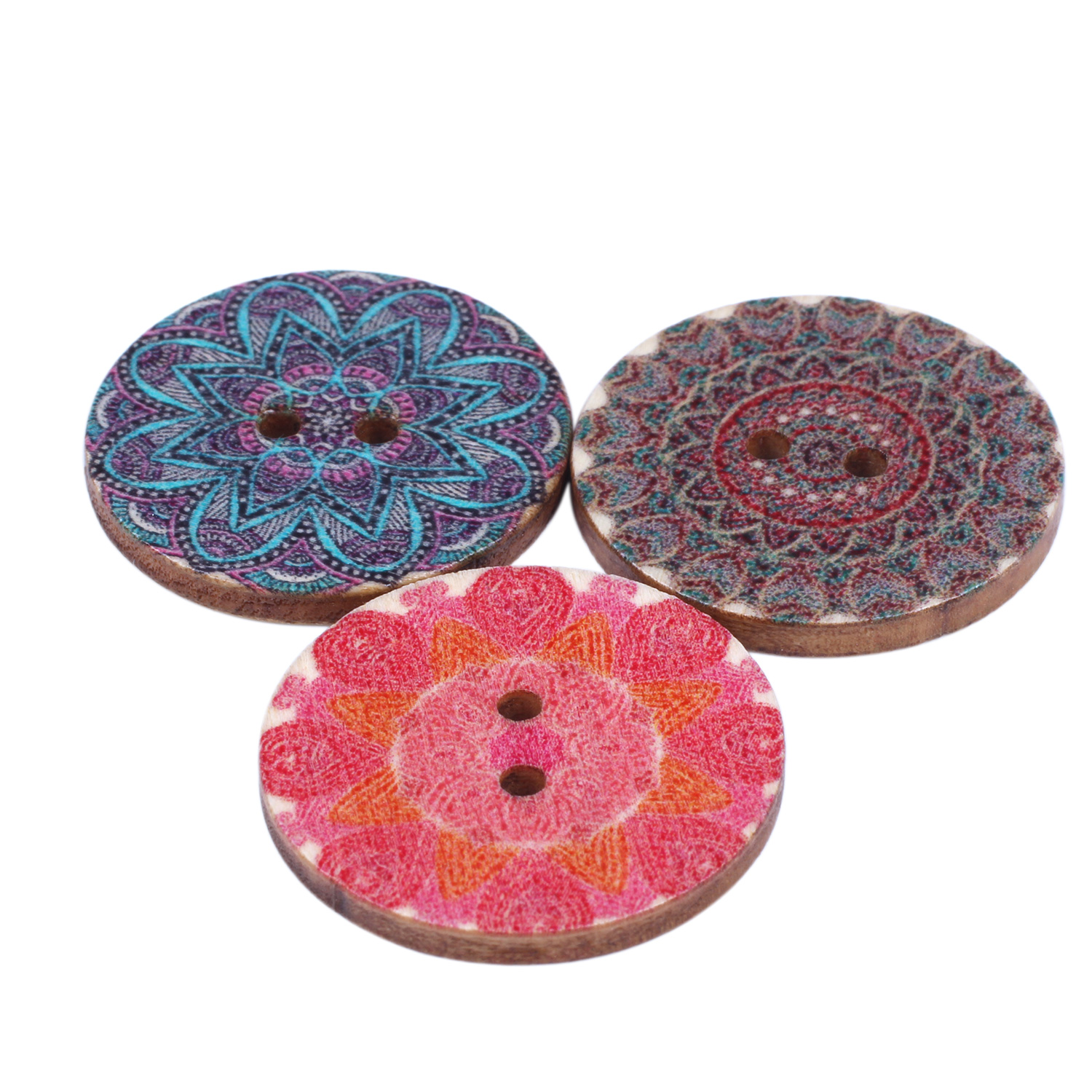 Mixed-Flower-Painting-Round-2-Holes-Wood-Wooden-Buttons-for-Sewing-Crafting-Z4I2 thumbnail 8