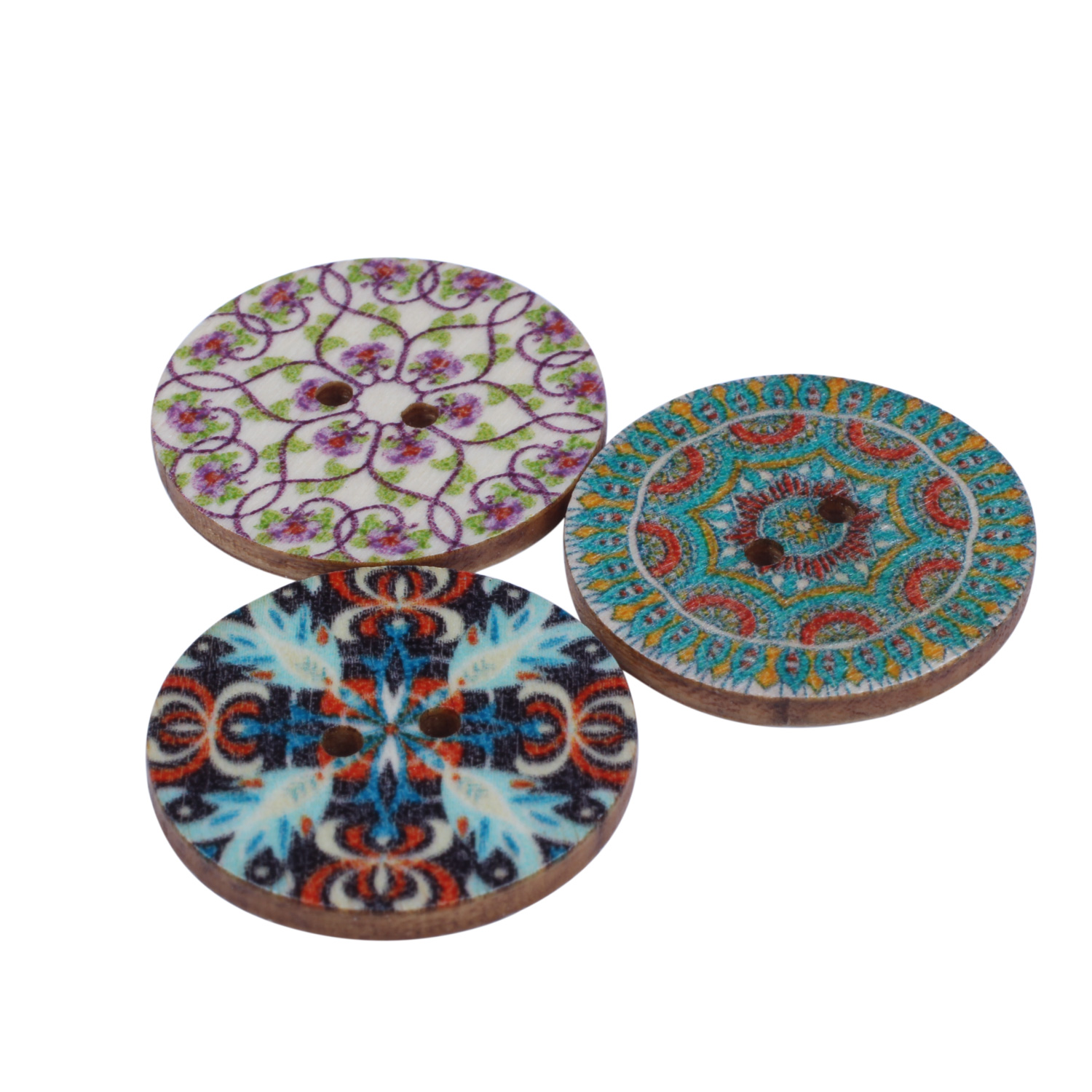 Mixed-Flower-Painting-Round-2-Holes-Wood-Wooden-Buttons-for-Sewing-Crafting-Z4I2 thumbnail 9