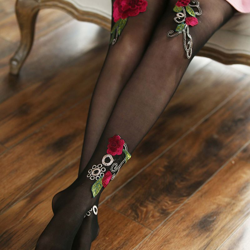 High-quality-Women-039-s-Sexy-High-Waist-Tight-Flower-Embroidery-Stockings-ling-W1L6 thumbnail 4