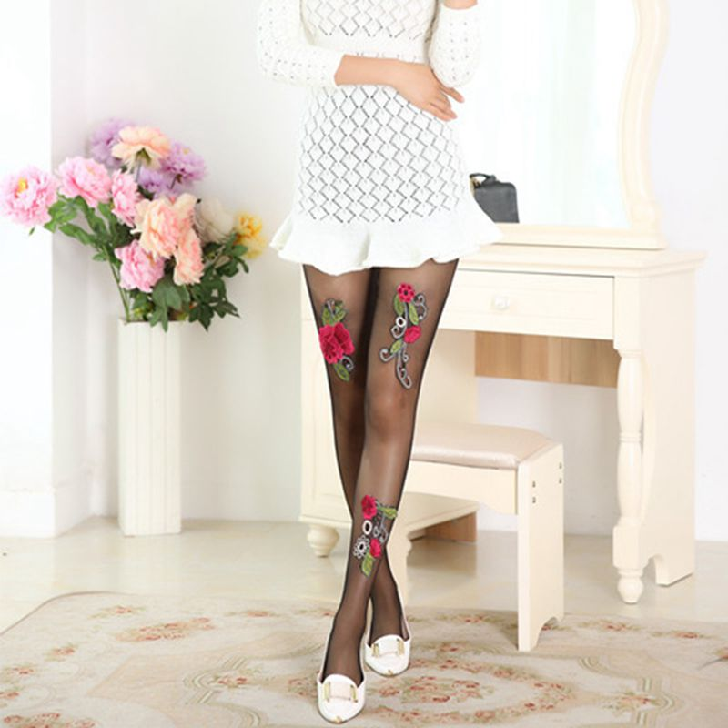 High-quality-Women-039-s-Sexy-High-Waist-Tight-Flower-Embroidery-Stockings-ling-W1L6 thumbnail 9