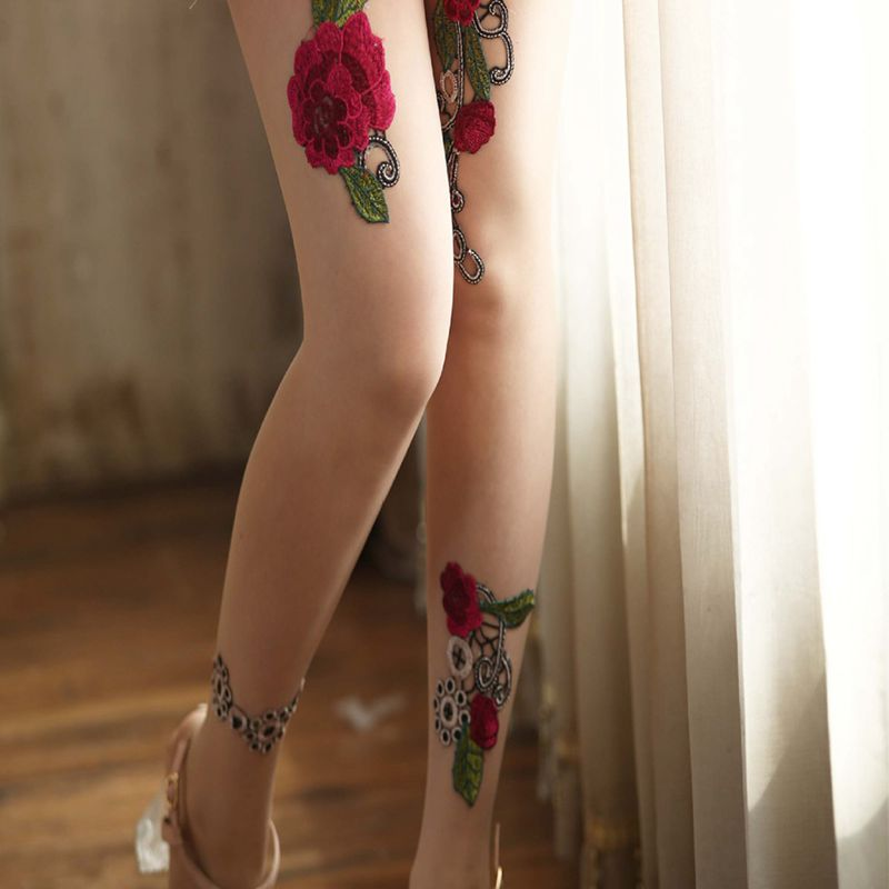 High-quality-Women-039-s-Sexy-High-Waist-Tight-Flower-Embroidery-Stockings-ling-W1L6 thumbnail 11